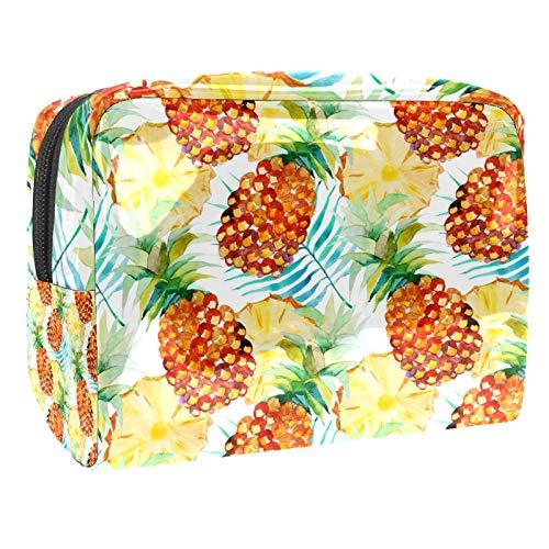 Bolsa de maquillaje de PVC para mujer y niña cosmética neceser organizador de bolsa de 7.3 x 3 x 5.1 pulgadas naranja amarillo piña