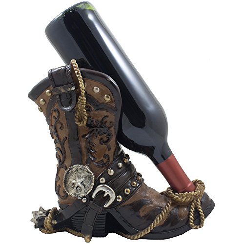 Fancy Cowboy Boot Wine Bottle Holder Decorative Display Stand Statue with Rope, Spur & Texas Star for Country Western Bar Decor and Kitchen Countertop Wine Racks As Great Gifts for Cowboys
