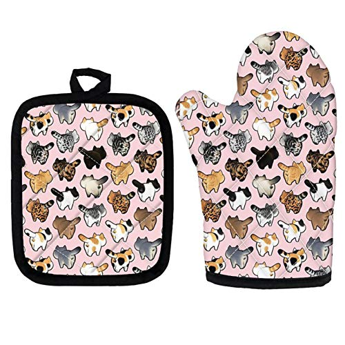 ZFRXIGN Funny Cat Oven Mitts and Pot Holders Sets for Kitchen Heat Resistant Insulated Batting for Potholders Soft Cotton Lining Cloth 2 Pieces