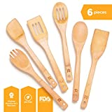 Riveira Wooden Spoons for Cooking 6-Piece Bamboo Utensil Set Apartment Essentials Wood Spatula Spoon...