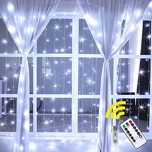 Ollny 192 LED Fairy Lights Plug in Curtain Lights for Bedroom String Lights with Remote Control, 8 Lighting Modes Christmas Lights Cool White Bedroom Lights USB Powered Wall Lights Indoor Light
