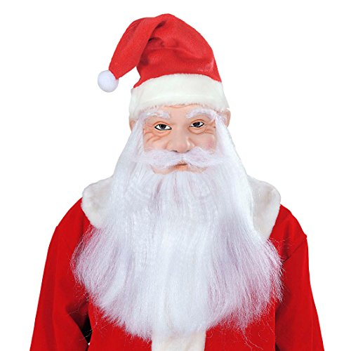 Amakando Masque Saint-Nicolas avec Bonnet Cheveux Barbe Moustache Visage Père Noël fêtes Santa Claus fouettard Christmas déguisement