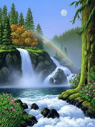 Cuadro por nmeros, paisaje de cascada, dibujo sobre lienzo, pintura, kits de arte pintados a mano, regalo DIY, decoracin del hogar, A3 40x50cm