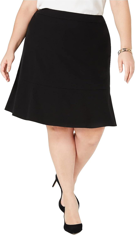 bar III Womens Black Ruffled Knee Length A-Line Wear to Work Skirt Size 16W