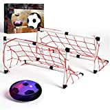 THE BLACK SERIES Hover Air LED Soccer Game Set with 2 Goals, Kids Fun Sports Gaming Set, Toys for Boys, Girls Hover Toy with Foam Bumper for Indoor/Outdoor Play at Night