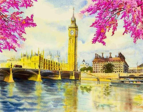England Landschaft DIY Puzzles, Big Ben Clock Tower und Thames River in London Holzpuzzles für Erwachsene, Beste Familie Lustige Dekompressionsspiele für Kinder15,7 * 23,6 Zoll 500 Stk
