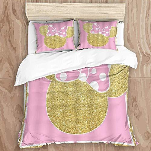 Juego de funda nórdica de 3 piezas de fácil cuidado y 2 fundas de almohada, ratón rosa, punto dorado, lazo, cabeza de ratón dorado, lunares, dibujos animados, niños para niña, elegante funda de edredó