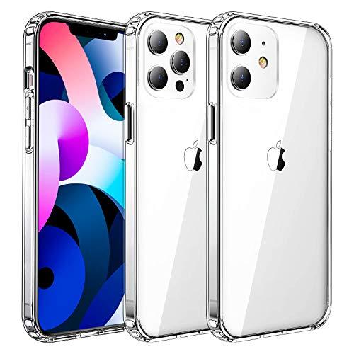Seomusen Transparente Funda Compatible con iPhone 12 Pro, Carcasa Protectora Antigolpes con PC Rígido + Marco TPU Flexible con Cojín de Esquina Parachoques Cover Compatible con iPhone 12 Pro(6.1'')