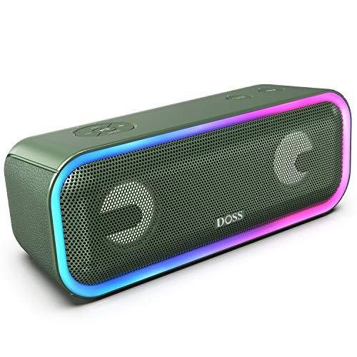 DOSS SoundBox Pro Plus Bluetooth Lautsprecher, 24W Lautsprecherbox TWS Musikbox mit Lichteffekte, Extra Bass, Wireless Stereo Paring, 15 Stunden Akkulaufzeit, TF Karte Slot, Grün
