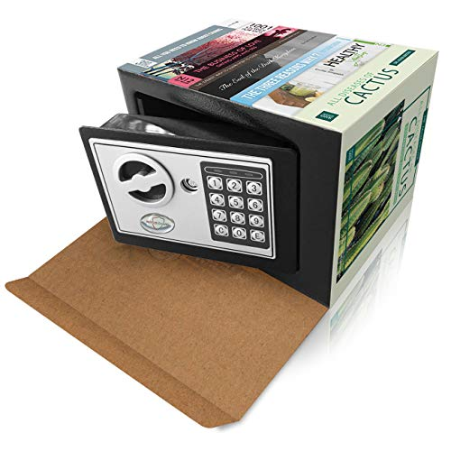 Disguised Diversion Safe | Electronic Digital Keypad and Backup Keys | Small and Personal Safe for Home or Office or Dorm with diversion Books disguise Great for hiding money, cash or valuables