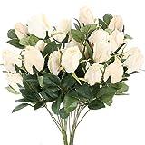 XHXSTORE 2pcs Fausse Rose Déco en Soie Bouquet Rose Blanche Fleur Artificielle Décoration pour Mariage Maison Fête Table Jardin
