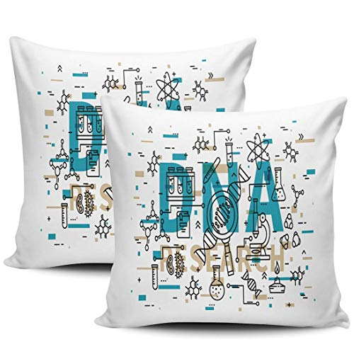 N/A Fundas de Almohada para sofá, Paquete de 2 microscopios de biotecnología Coloridos, Gen, Cadena de ADN, Tubo de ensayo, Fundas de Almohada de Tiro Cuadrado, 18x18 Pulgadas