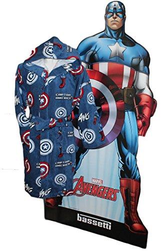 MARVEL by BASSETTI Accappatoio Bambino 12/14 Anni con Cappuccio Captain America Originale Civil War Avengers