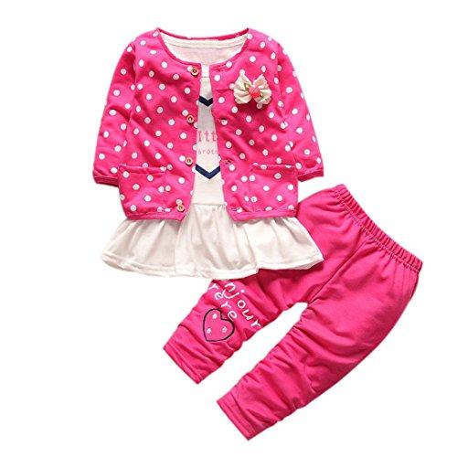 Bébé Ensemble de Vêtements,LMMVP 3pcs Infantile Bébé Fille Dot Bowknot Manteau de Cardigan + Pantalon +Shirt Vêtements Ensemble (XL(3-4T), Rose vif)