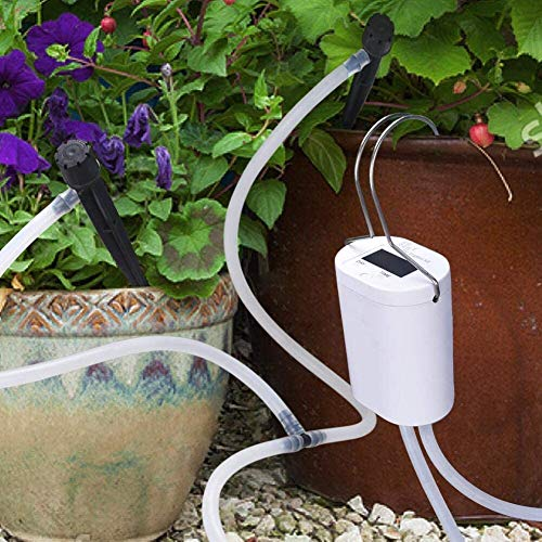 DINOKA DIY Bewässerungssystem, Automatische Urlaubs Bewässerungsanlage Kit mit 8 ft Schlauch für Blumenbeet, Terrasse, Garten oder Topfpflanzen (Weiß)