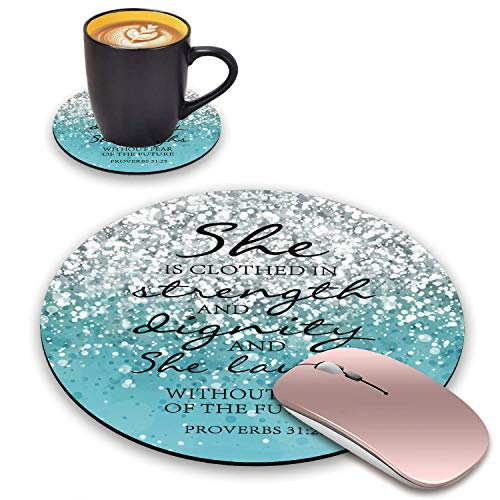 BWOOLL Round Mouse Pad and Coasters Set, Blue Glitter Mouse Pad, Christian Quote Bible Verse Proverbs 31:25 Design Mouse Pad, Non-Slip Rubber Base Mouse Pads for Laptop and Computer