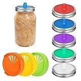 BestCool Tapas de Tarro de masón de 8 Piezas, Tapas de fermentación de Silicona Tapas de Brote...
