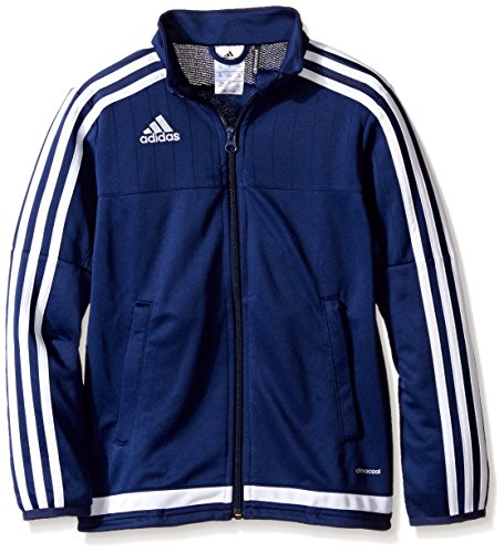 adidas Kids' Soccer Tiro 15 Training Jacket, Dark Blue/White/New Navy, X-Small