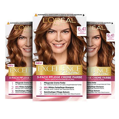 L'Oréal Paris Excellence Creme Permanente Haarfarbe, 100% Grauhaarabdeckung, Haarfärbeset mit Coloration, Shampoo und 3-fach Pflegecreme, 6.41 Helles Caramelbraun, 3 x 268 g