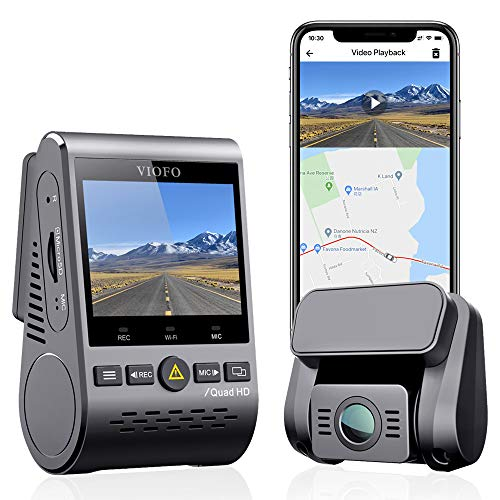 VIOFO Dual Dash Cam, 2K 1440P 60fps+1080P 30fps Front and Rear Dash Camera with Wi-Fi GPS, Parking Mode, Emergency Recording, Super Capacitor, Motion Detection (A129 Plus Duo)