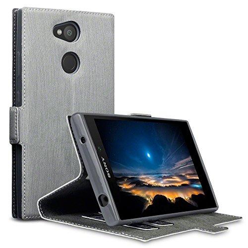 TERRAPIN, Kompatibel mit Sony Xperia L2 Hülle, Leder Tasche Hülle Hülle im Bookstyle mit Standfunktion Kartenfächer - Grau