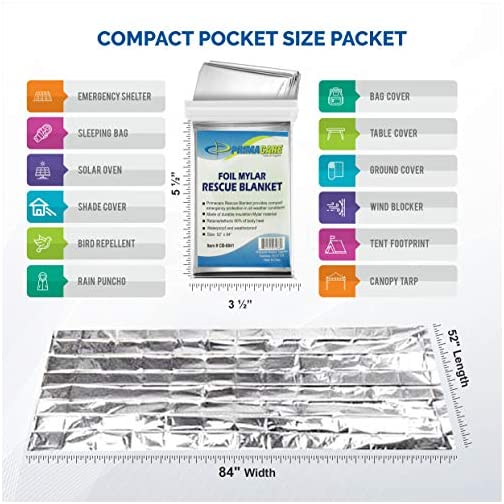 "Primacare HB-10 Emergency Foil Mylar Thermal Blanket (Pack of 10), 52"" Length x 84"" Width, Silver 4"