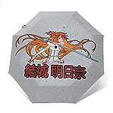 Sword Art Online Herione of Aincrad Paraguas Plegable Compacto de Apertura y Cierre automático, Plegable