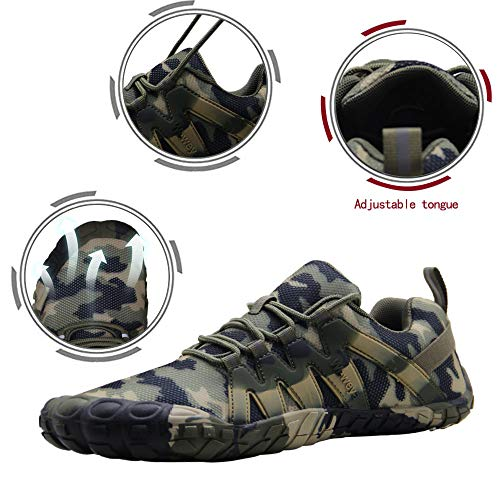 Barefoot Shoes Men Indoor Workout Gym Biking Cycling Spin Treadmill Exercise Cross Training Five Fingers Minimalist Running Zero Drop Wide Width Five Toe Box Camouflage Shoe Size 8.5