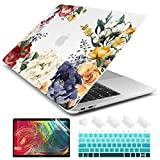Dongke for MacBook Air 13 Inch Case 2020 2019 2018 Release A1932 Frosted Rubberized Matte Hard Shell Cover for MacBook Air 13 with Retina Display and Touch ID Roses Clear Color