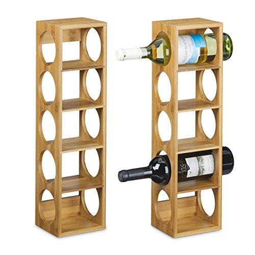 Relaxdays 2X Weinregal Bambus, Flaschenhalter 5 Fächer, Holzregal für Wein, Flaschenregal modern, HxBxT: 53 x 14 x 12 cm, Natur