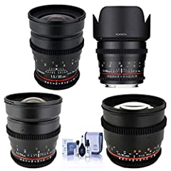 Rokinon 24mm T1.5 Cine Lens - 50mm T1.5 Cine AS Lens - 35mm T1.5 Cine Lens - 85mm T1.5 Cine Lens - 4 Front Lens Caps - 4 Rear Lens Caps - 4 Soft Lens Bag - Petal Lens Hood For 35mm - Detachable Lens Hood For 85mm - Rokinon USA Warranty - Bundle inclu...