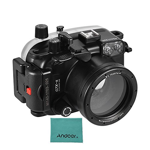 Andoer Waterproof Camera Diving Housing Protective Case Cover Underwater 40m/ 130ft Compatible with Canon G7X Mark II