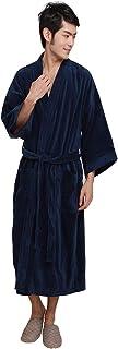 HOONI 温泉100% 綿タオルバスローブ ロングシャワーローブ 浴衣 男性&女性用バスローブ (紺, フリーサイズ)