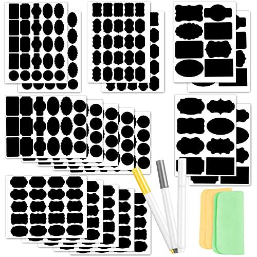 Premium Beschriftungsetiketten Selbstklebend, 327+5 Stücke Tafel Aufkleber fuer glaeser mit Flüssige Kreidemarker und Scheuerpads