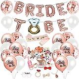 Juego de decoración de despedida de soltera, globos de papel de guirnalda de novia, 23 accesorios para fotos de boda, 10 globos de oro rosa, 10 globos de látex blanco, 10 globos de confeti, 1 faja