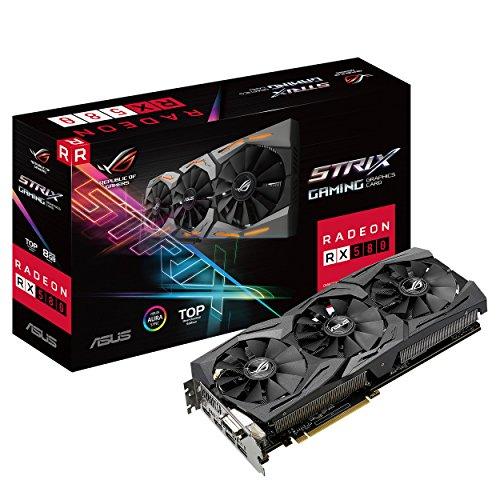 ASUS ROG Strix Radeon RX 580 T8G Gaming Top OC Edition GDDR5 DP HDMI DVI VR Ready AMD Graphics Card (ROG-STRIX-RX580-T8G-GAMING)