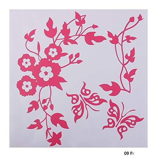 TFOOD Sticker Mural,Rose Rouge Papillon Fleur Autocollant Mural, Adapté Pour La Décoration De La Maison De Bricolage Porte De Salle De Bain Toilettes Et Réservoir De Toilettes