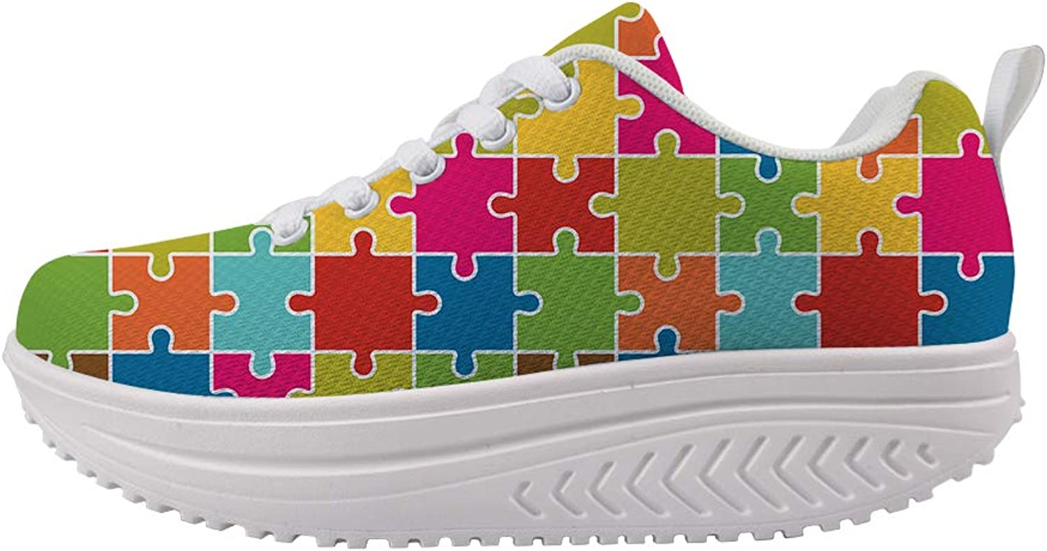 Swing Platform Toning Fitness Casual Walking shoes Wedge Sneaker Women Autism Awareness Square Puzzle