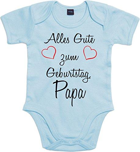 Mister Merchandise Baby Body Alles gute zum Geburtstag, Papa Strampler liebevoll bedruckt Glückwunsch Hellblau, 0-3