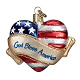 Old World Christmas Ornaments God Bless America Heart Glass Blown Ornaments for Christmas Tree