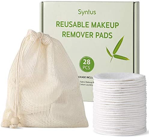 Syntus Makeup Remover Pads 28 Pcs Reusable Natural Bamboo Cotton Rounds Remover Wipes with Laundry product image