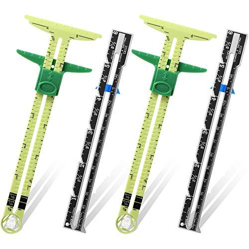 Schieblehre Nähen Messwerkzeug, 5-in-1 Schieblehre Messung Nähen Lineal Werkzeug Stoff Quilten Lineal für Stricken Basteln Nähen Lieferung Anfänger (2)