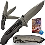 Heavy Pocket Knife for Men Best Spring Assisted Knife Folding Knife with Glass Breaker and Pocket Clip - Tactical Knofe - Camping Hunting Hiking Fishing EDC Survival Boy Scout Knife Gifts for Men 6495