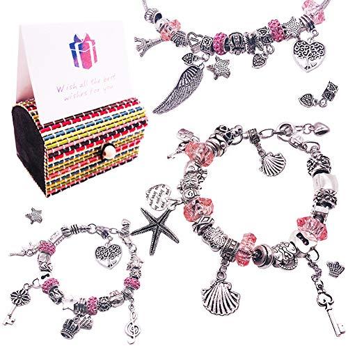 YINVA Armbänder Selber Machen 59Pcs Charm Armband Kit DIY,Geschenk für Mädchen,Einschließlich 54 versilberte DIY-Perlen,3 Schlangenketten,1 Geschenkbox,1 Geschenkkarte,Mädchen Geschenke 8-12 Jahre
