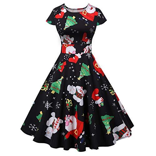 Writtian Damen Weihnachten Kleider Armellos Weihnachtskleid Vintage Hepburn...