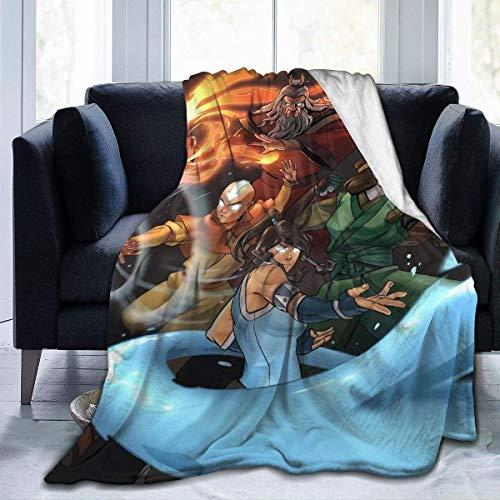 Korra Aang Manta de forro polar suave y cálida manta de franela para sofá cama de 127 x 101 cm
