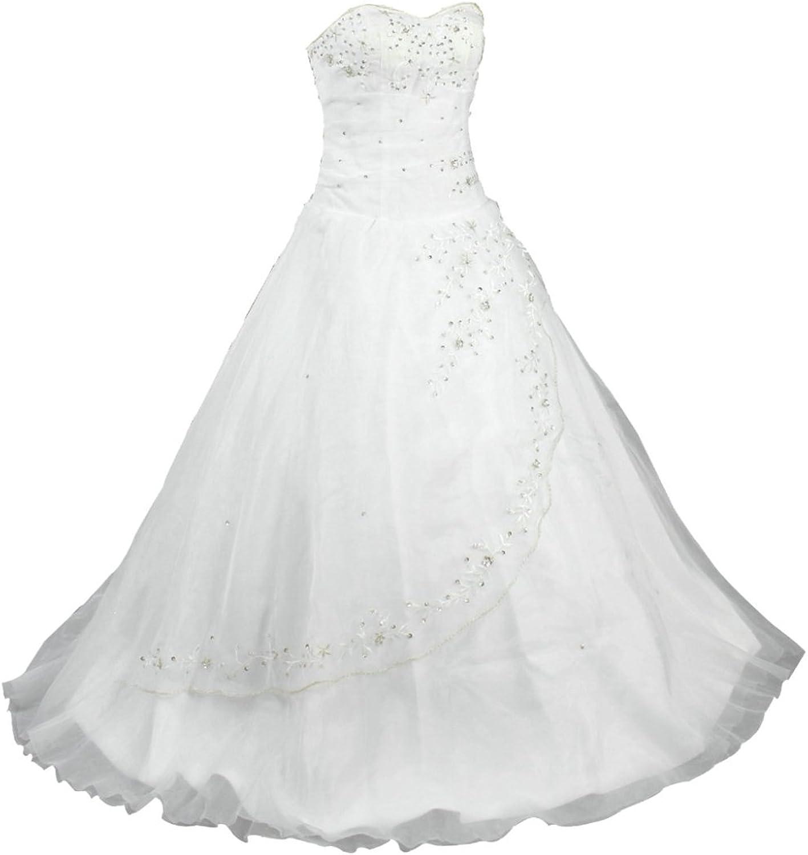 Vantexi Women's Strapless Wedding Dress Formal Prom Gown