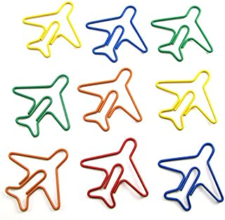 JANOU Cute Airplane Shape Paper Clips Multicolor Card File Clips Clamps for Bookmark Office School Notebook Decoration (Random Colors) Pack 24pcs