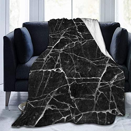 Manta de Felpa Suave Cama Textura angustiada Negra Manta Gruesa y Esponjosa Microfibra, Suave, Caliente, Transpirable para Hogar Sofá , Oficina, Viaje