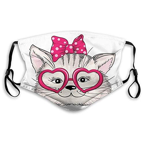 Cómoda máscara impresa, gatito, gato hipster con forma de corazón rosa gafas y lazo para el pelo punteado, magenta beige negro, decoraciones faciales a prueba de viento para adultos Tamaño: M